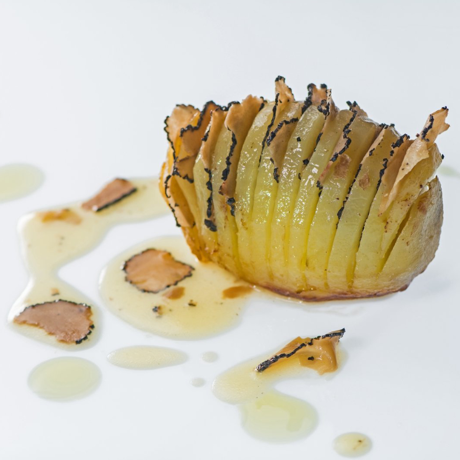 Oven roasted potatoes with Chopped Black Truffles